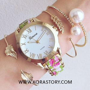 Classic Gold Floral Watch