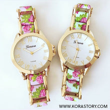 Load image into Gallery viewer, Classic Gold Floral Watch