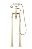 Traditional Bath Shower Mixer On Pipe Stands - Metal Lever