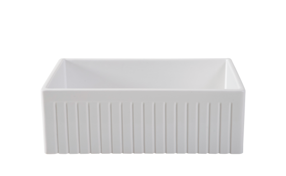 Narrow Fluted Single Bowl Fireclay Farmhouse Sink 761mm - Half Price!