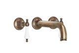 Wall Three Hole Lever Taps With Bath Spout - Cross Handles