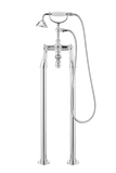 Traditional Bath Shower Mixer On Pipe Stands - Cross Handle