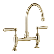 Traditional Kitchen Bridge Mixer Tap - Porcelain Levers