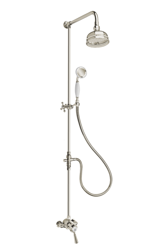Heritage Exposed Shower System Arm Rose Diverter & Handshower - Metal Lever