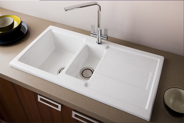 Live Event ! - Ceramic Kitchen Sink 1.5 Bowl & Drain Board