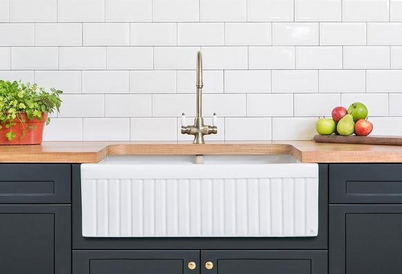 Builders Special - Narrow Double Fluted Fireclay Sink - Half Price!