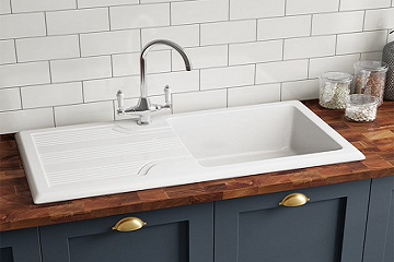 Ceramic Kitchen Sink 1.0 Bowl And Drain Board - Flash Sale !