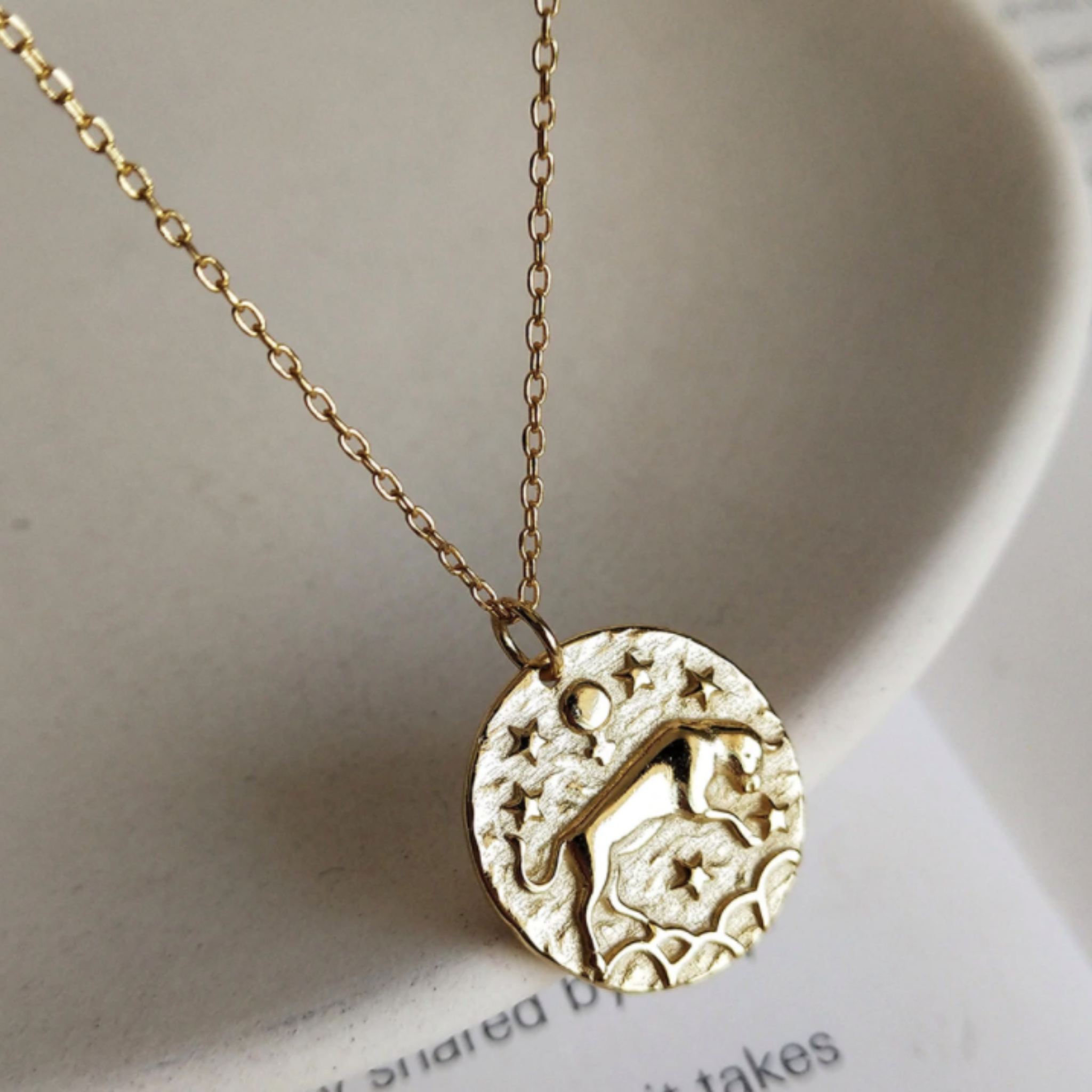 Taurus Necklace, Gold Vermeil