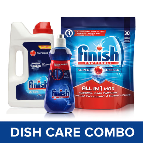 Finish All in 1 Max Powerball - 30 Tablets with Dishwasher Powder Detergent - 1 kg and Shine and Dry Rinse Aid - 400 ml