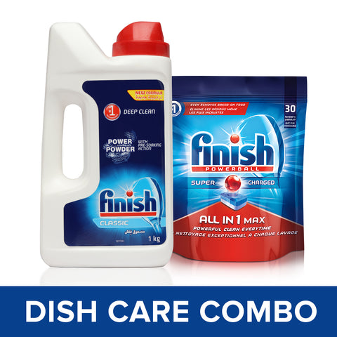 Finish All in 1 Max Powerball - 30 Tablets and Classic Dishwasher Detergent - 1 kg