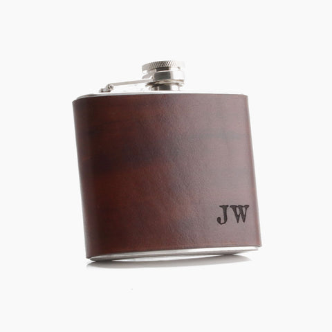 Personalized Leather Hip Flask - 3 year anniversary gift ideas for Husband