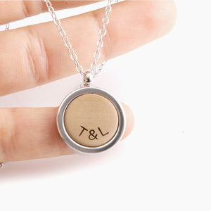 Wood Pendant Necklace - Personalized Initials by Craftive