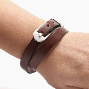 Belt Buckle Bracelet - Leather Wrap Bracelet Buckle by Craftive
