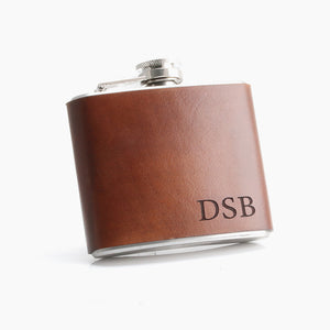 Engraved Leather Hip Flask - Custom gifts for men by Craftive