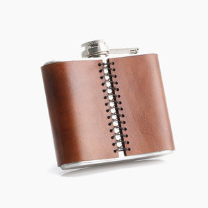 Engraved Leather Hip Flask