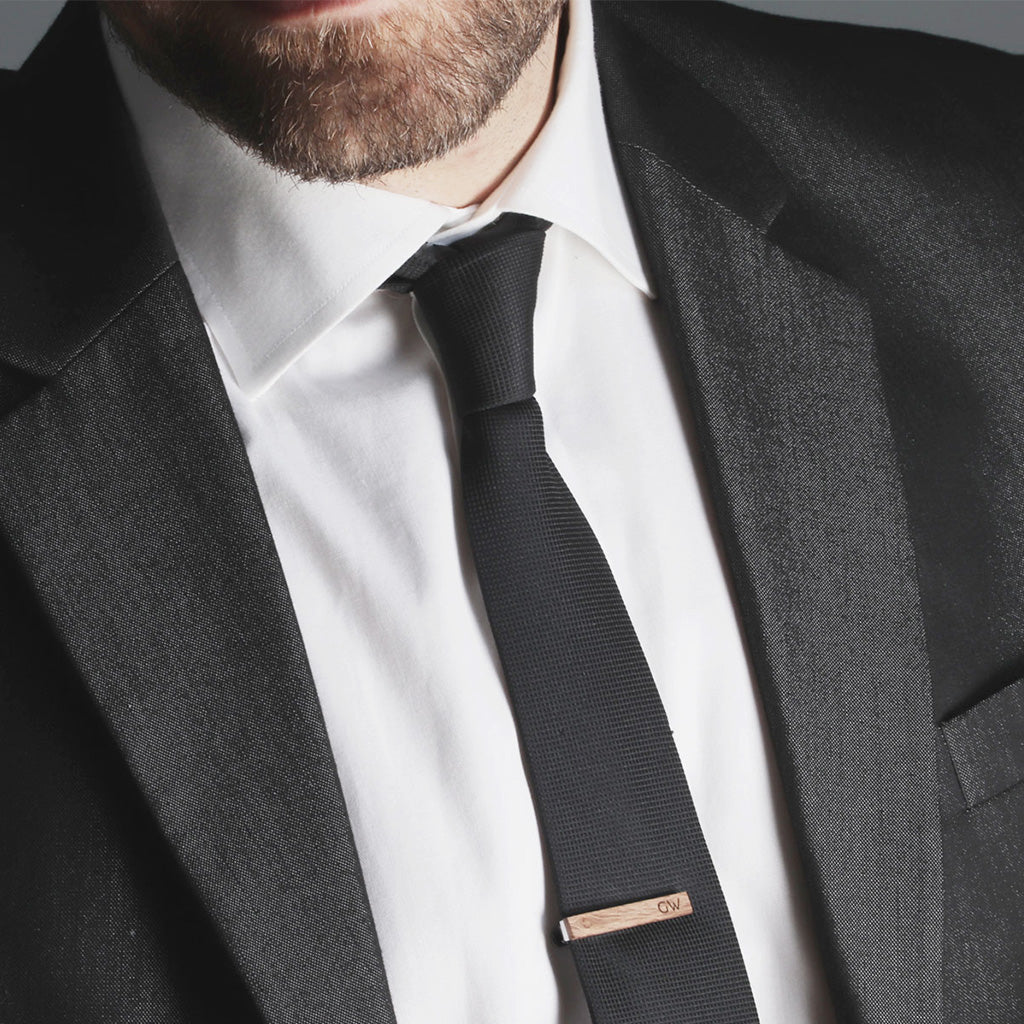bf49b3b39817 Skinny Tie Clip Personalized with Initials - Slim Tie Bar by Craftive