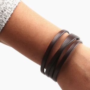 Stackable Bracelets - Stacked Leather Bracelets