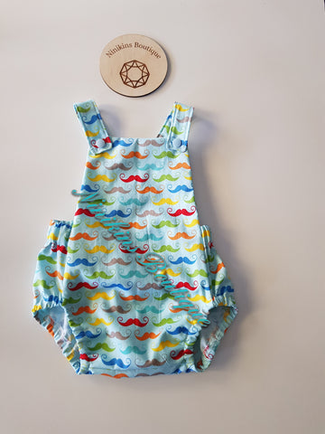 Summer Romper-Rainbow Moustaches Size: 00