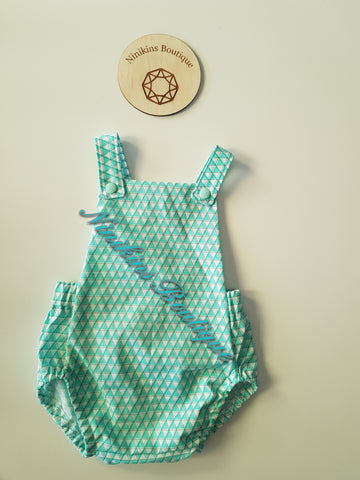 Summer Romper-Green Triangles Size: 00