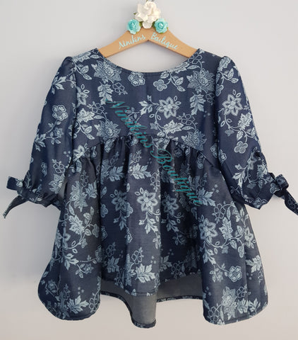 Bristol Top/Dress - Denim Flowers Size: 4