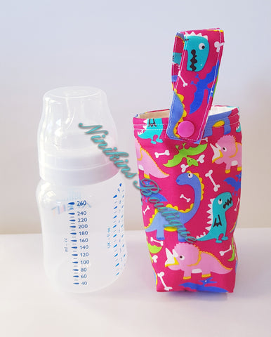 Insulated Bottle Holder Short - Pink/Dinosaurs