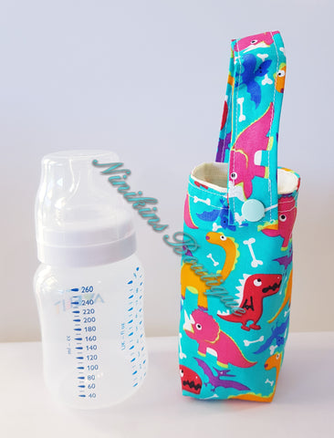 Insulated Bottle Holder Short - Blue/Dinosaurs