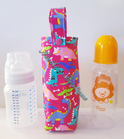 Insulated Bottle Holder Standard - Pink/Dinosaurs