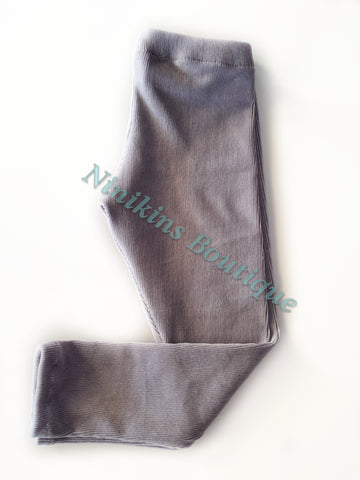 Leggings - Grey Corduroy Velour Size: 6