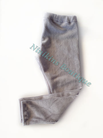 Leggings - Grey Corduroy Velour Size: 5