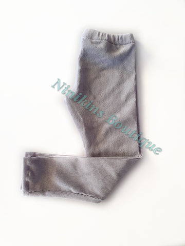 Leggings - Grey Corduroy Velour Size: 4