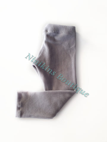 Leggings - Grey Corduroy Velour Size: 2