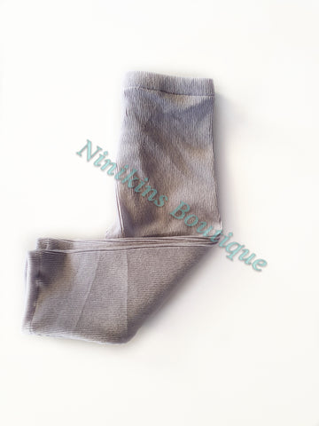 Leggings - Grey Corduroy Velour Size: 1