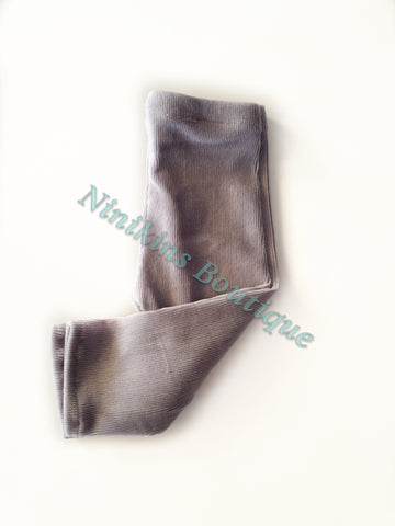 Leggings - Grey Corduroy Velour Size: 00