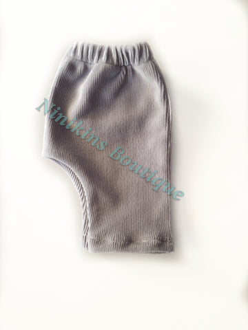 Leggings - Grey Corduroy Velour Size: 000