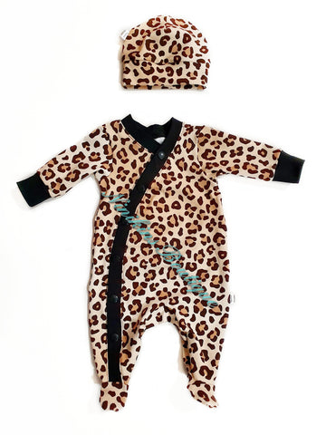 Footed Coveralls - Leopard Print  Size: 0000