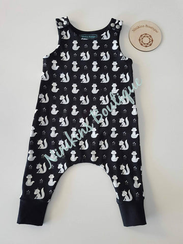 Harem Romper-Black with Cheeky Foxes Size: 00