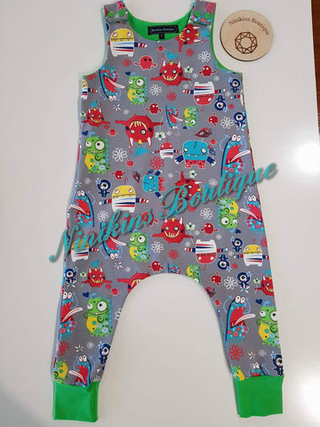 Harem Romper-Happy Monsters Size: 2
