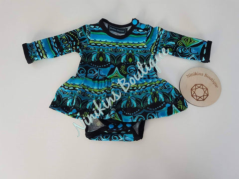 Bodysuit Dress-Blue/Green Black Design Size: 000