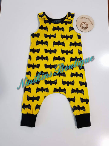 Harem Romper-Yellow with Bats Size: 000