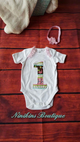 1st Birthday Onesie-Flowers Size: 00