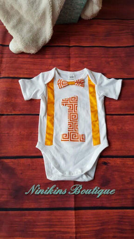 1st Birthday Onesie-Orange Maze Size: 0