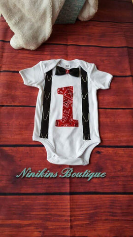 1st Birthday Onesie-Biker Chains Size: 1