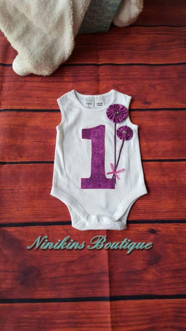 1st Birthday Onesie-Purple Size: 0
