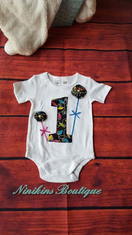 1st Birthday Onesie-Party Lights Size: 1