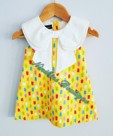 Annabelle Dress - Yellow/Ice-cream Size: 1