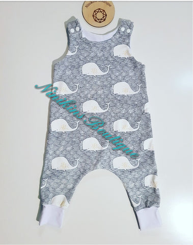 Harem Romper-Whales Size: 1