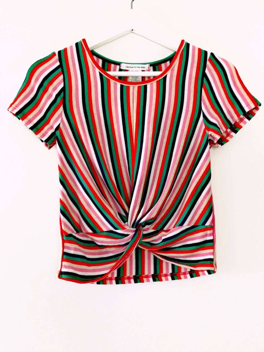 Caution To The Wind Twist Front Multicolored Striped Top