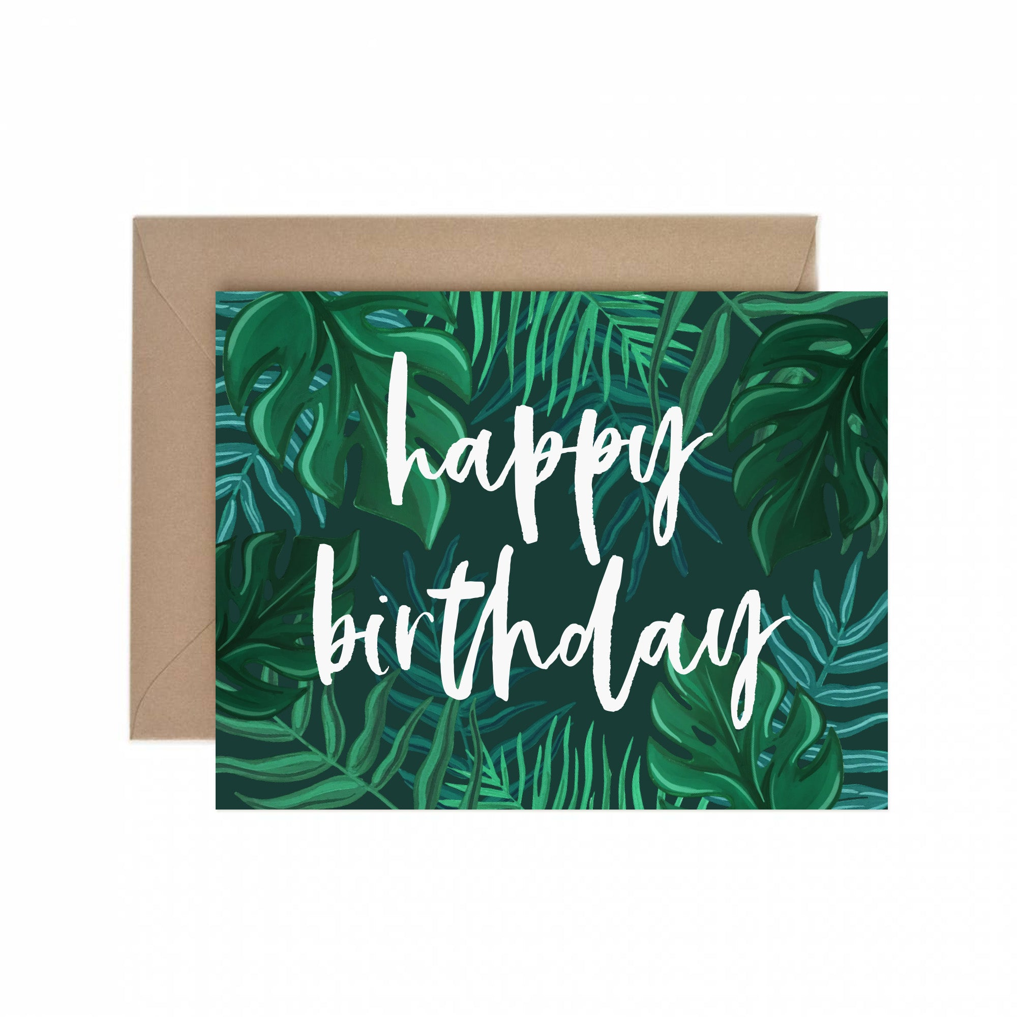 Tropical Foliage Happy Birthday Greeting Card