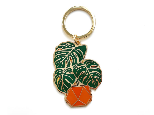 Monstera Enamel Keychain