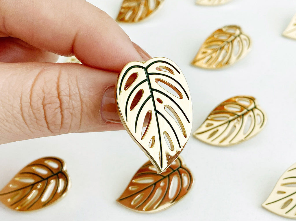 """Swiss Cheese"" Monstera Adansonii Lapel Pin"